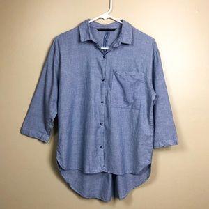 Zara Trf Blue Striped Hi Lo Pocket Button Down Top